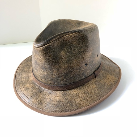 Henschel Other - Vintage Henschel Hat Co. Safari Fedora Hat Leather 437deeb4d62